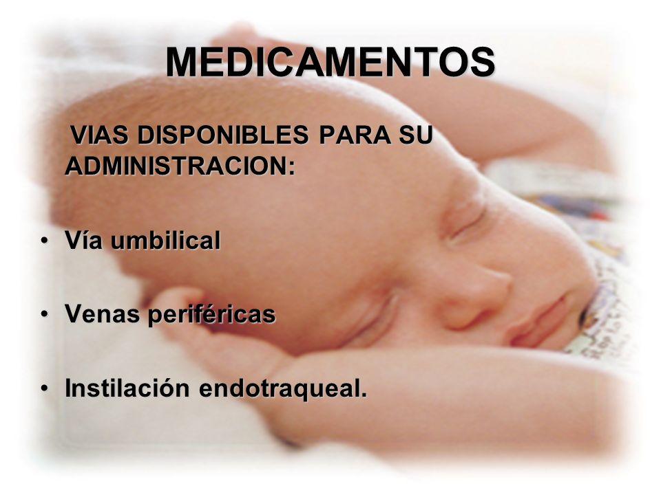 MEDICAMENTOS Vía umbilical Venas periféricas Instilación endotraqueal.