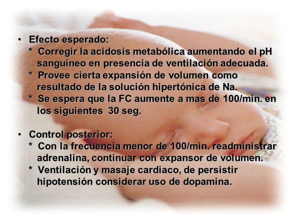 Efecto esperado: * Corregir la acidosis metabólica aumentando el pH. sanguíneo en presencia de ventilación adecuada.