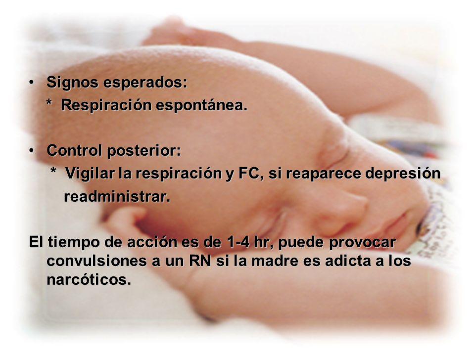 Signos esperados: * Respiración espontánea. Control posterior: * Vigilar la respiración y FC, si reaparece depresión.