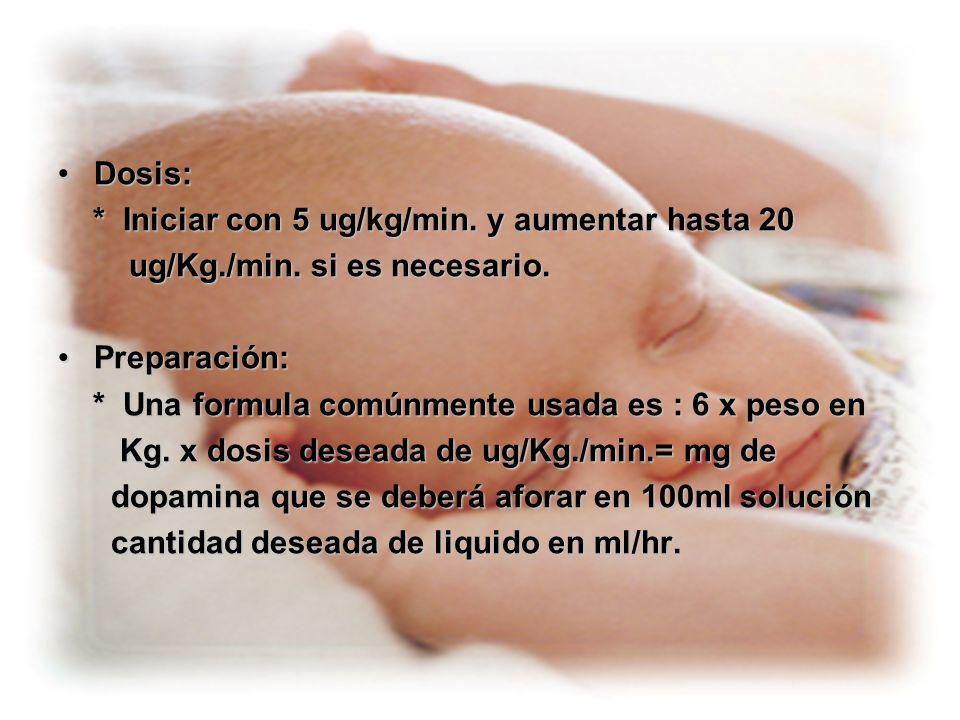 Dosis:* Iniciar con 5 ug/kg/min. y aumentar hasta 20. ug/Kg./min. si es necesario. Preparación: * Una formula comúnmente usada es : 6 x peso en.