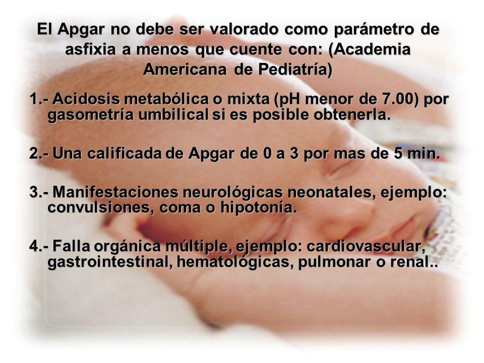 El Apgar no debe ser valorado como parámetro de asfixia a menos que cuente con: (Academia Americana de Pediatría)