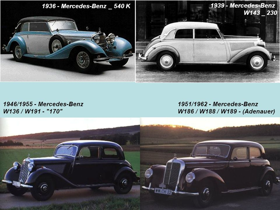 1936 - Mercedes-Benz _ 540 K 1939 - Mercedes-Benz. W143 _ 230. 1946/1955 - Mercedes-Benz. W136 / W191 - 170