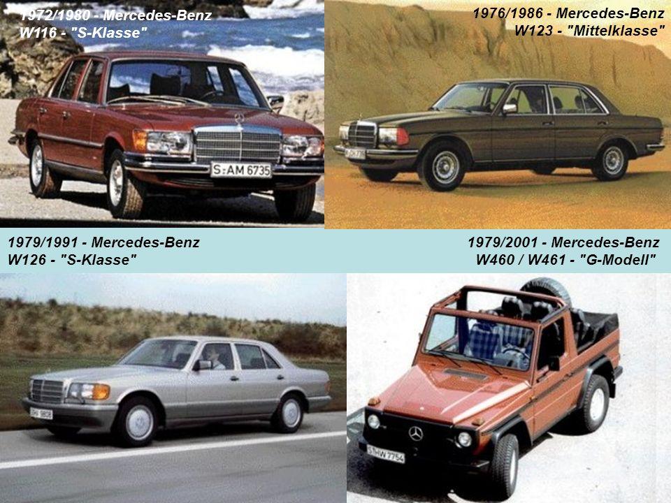 1972/1980 - Mercedes-Benz W116 - S-Klasse 1976/1986 - Mercedes-Benz W123 - Mittelklasse 1979/1991 - Mercedes-Benz.