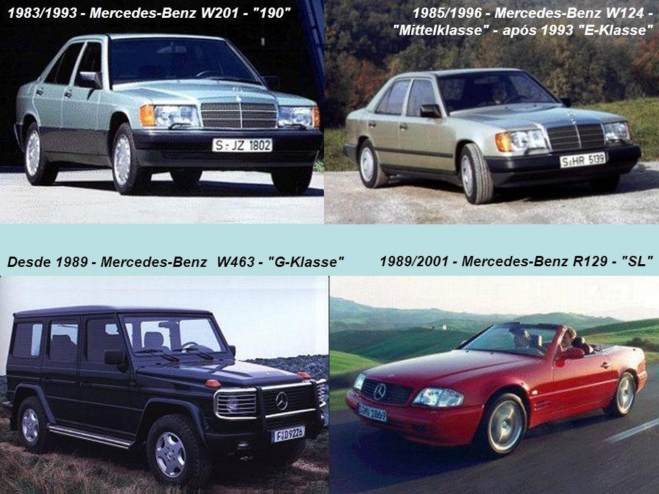 1983/1993 - Mercedes-Benz W201 - 190 1985/1996 - Mercedes-Benz W124 - Mittelklasse - após 1993 E-Klasse