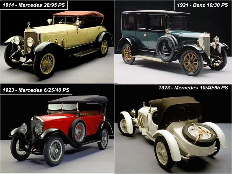 1914 - Mercedes 28/95 PS 1921 - Benz 10/30 PS. 1923 - Mercedes 10/40/65 PS.