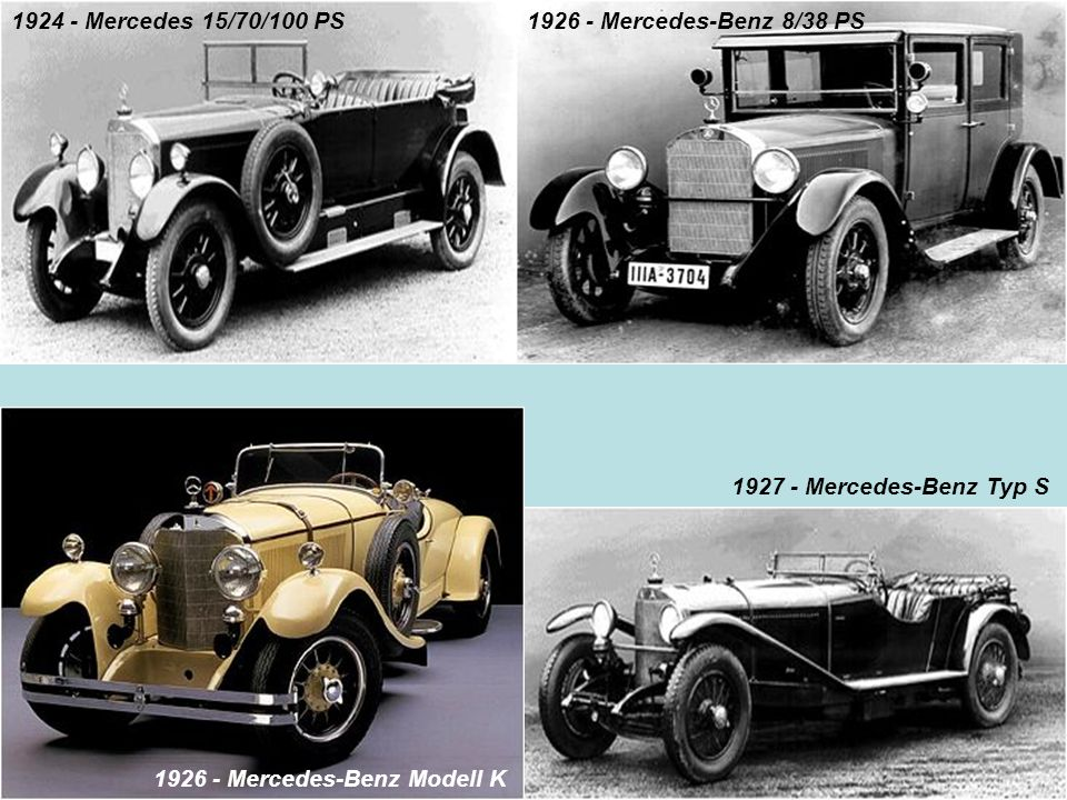 1924 - Mercedes 15/70/100 PS 1926 - Mercedes-Benz 8/38 PS.