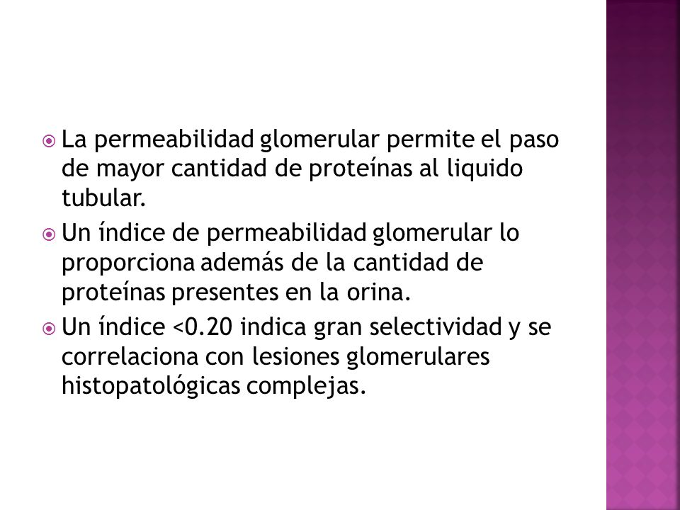 La permeabilidad glomerular permite el paso de mayor cantidad de proteínas al liquido tubular.