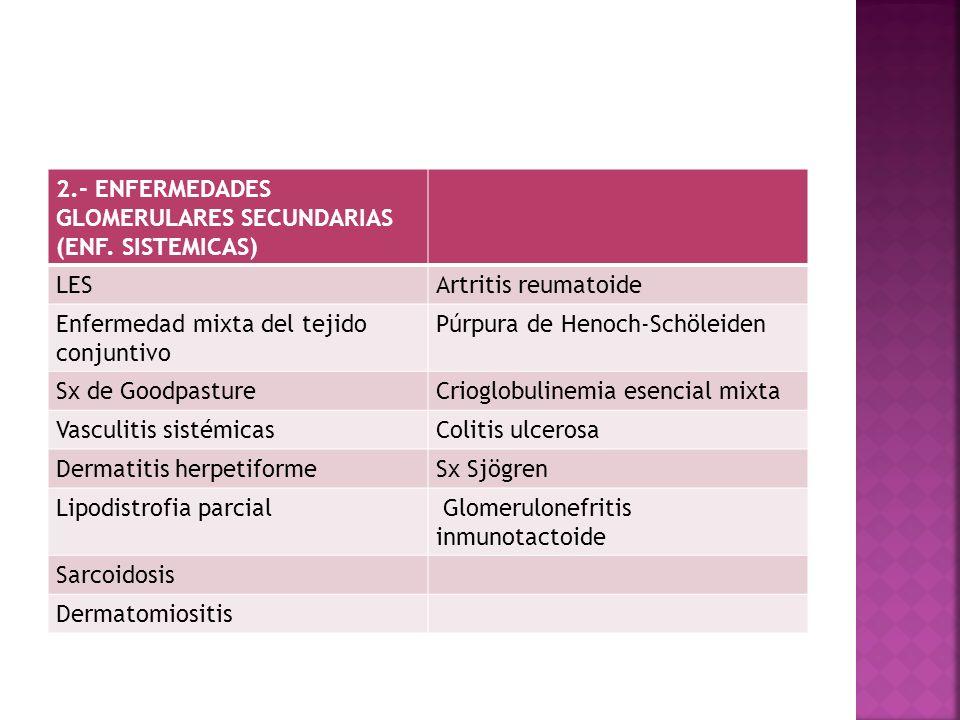 2.- ENFERMEDADES GLOMERULARES SECUNDARIAS (ENF. SISTEMICAS)