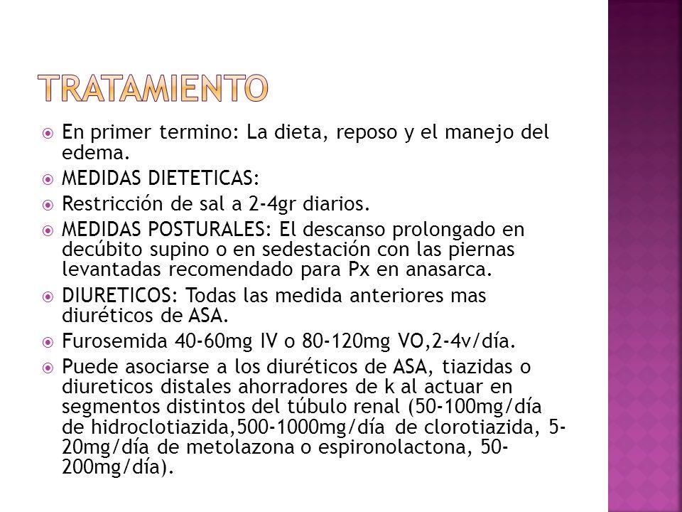 TRATAMIENTO En primer termino: La dieta, reposo y el manejo del edema.