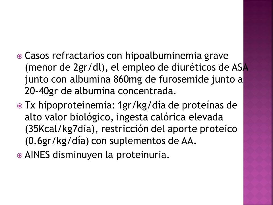 Casos refractarios con hipoalbuminemia grave (menor de 2gr/dl), el empleo de diuréticos de ASA junto con albumina 860mg de furosemide junto a 20-40gr de albumina concentrada.