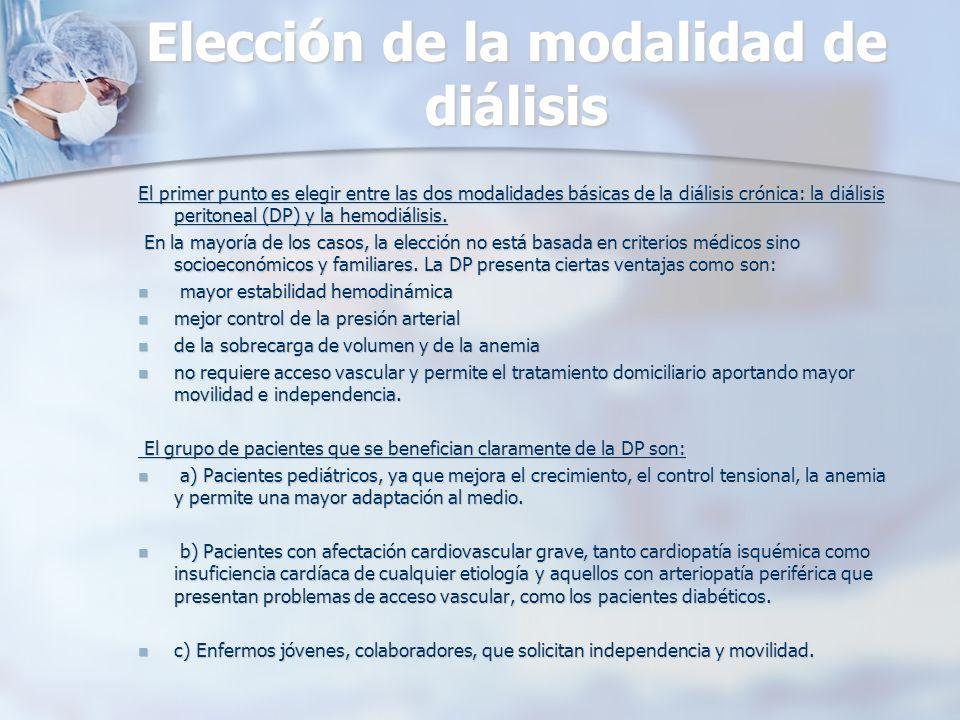 Elección de la modalidad de diálisis