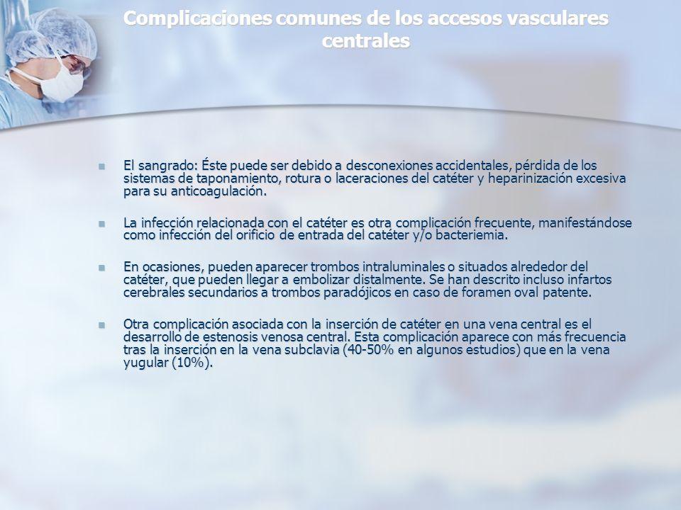 Complicaciones comunes de los accesos vasculares centrales