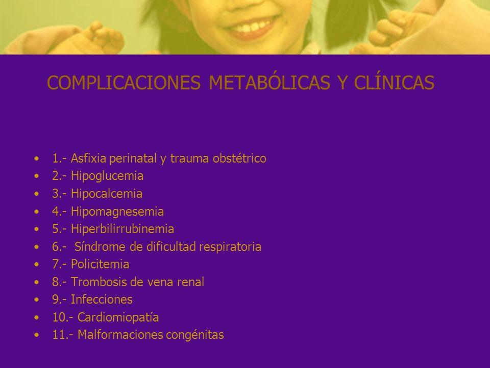 COMPLICACIONES METABÓLICAS Y CLÍNICAS