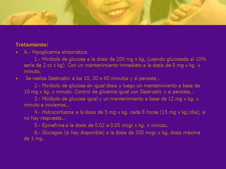 Tratamiento: A.- Hipoglicemia sintomática: