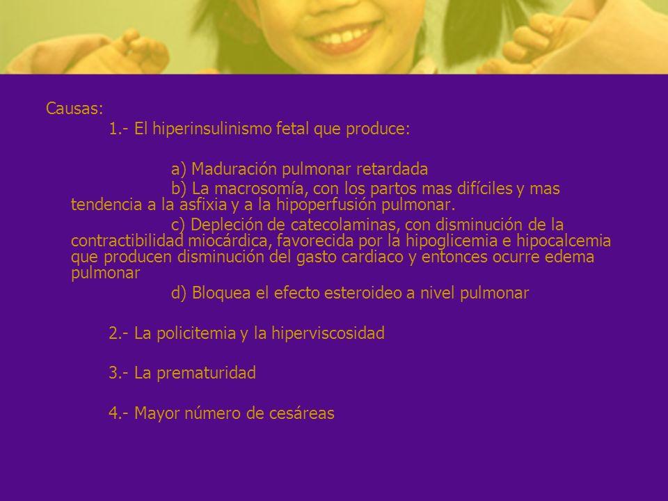 Causas: 1.- El hiperinsulinismo fetal que produce: a) Maduración pulmonar retardada.