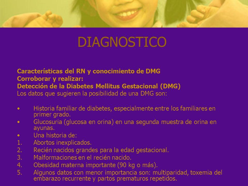 DIAGNOSTICO Características del RN y conocimiento de DMG