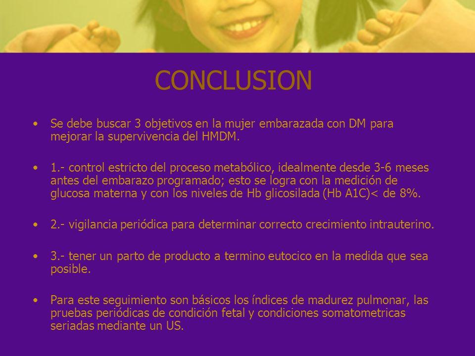 CONCLUSION Se debe buscar 3 objetivos en la mujer embarazada con DM para mejorar la supervivencia del HMDM.