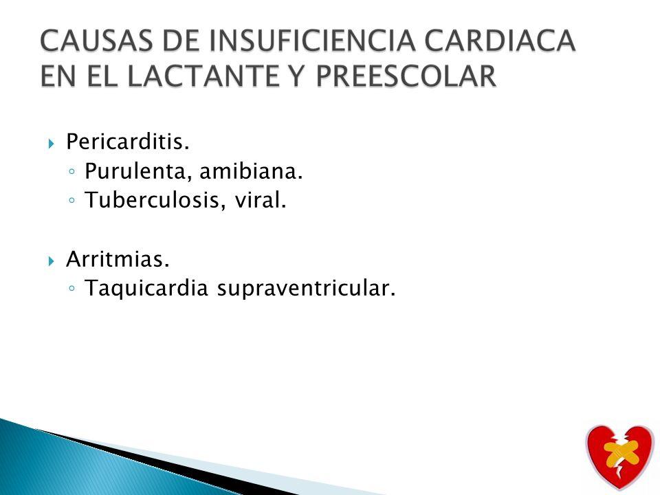 Pericarditis. Purulenta, amibiana. Tuberculosis, viral. Arritmias. Taquicardia supraventricular.