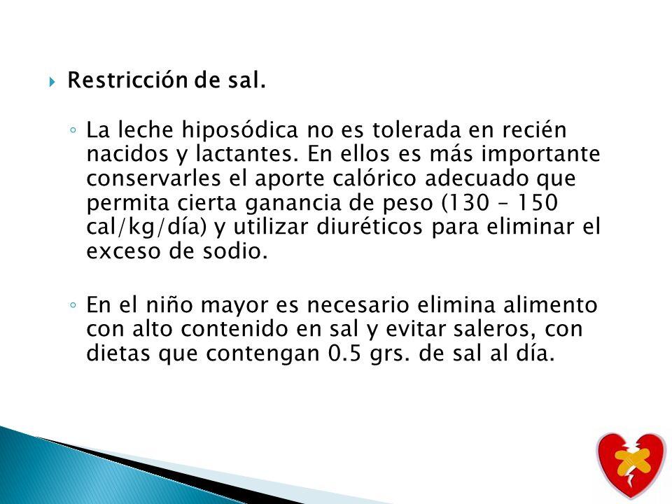 Restricción de sal.