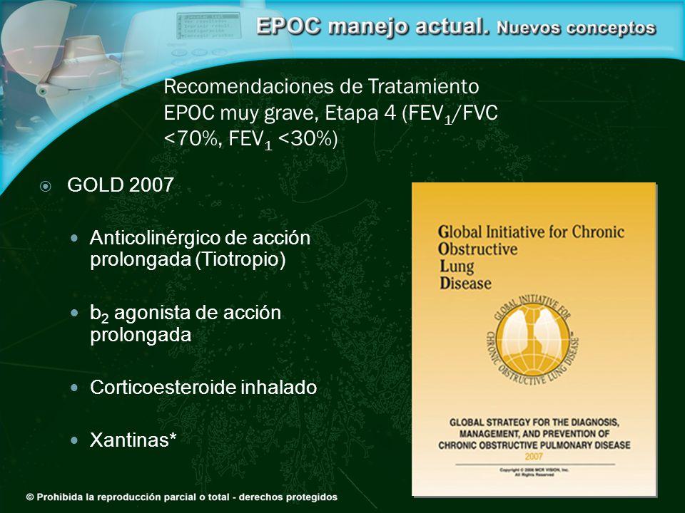 Recomendaciones de Tratamiento EPOC muy grave, Etapa 4 (FEV1/FVC <70%, FEV1 <30%)