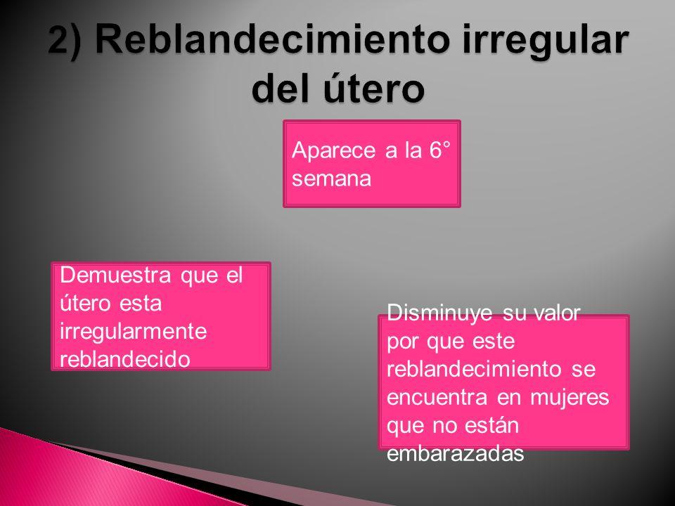 2) Reblandecimiento irregular del útero