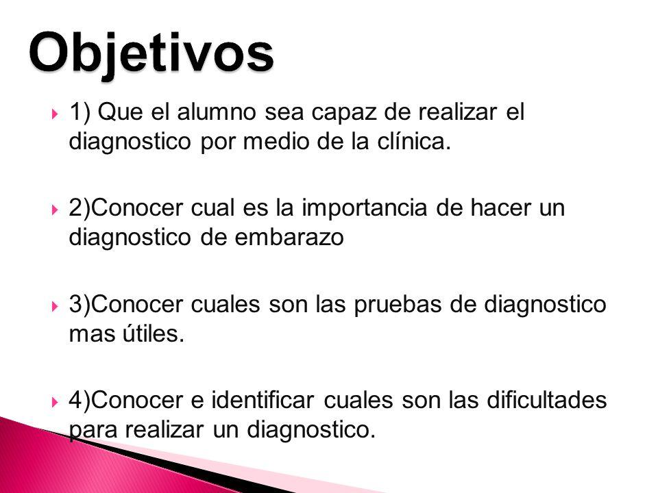 Objetivos 1) Que el alumno sea capaz de realizar el diagnostico por medio de la clínica.