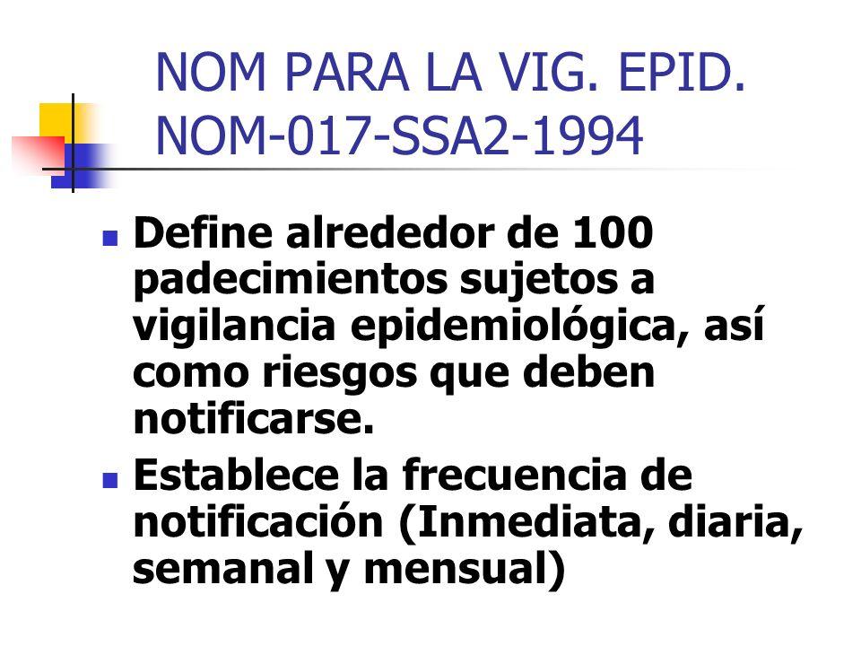 NOM PARA LA VIG. EPID. NOM-017-SSA2-1994