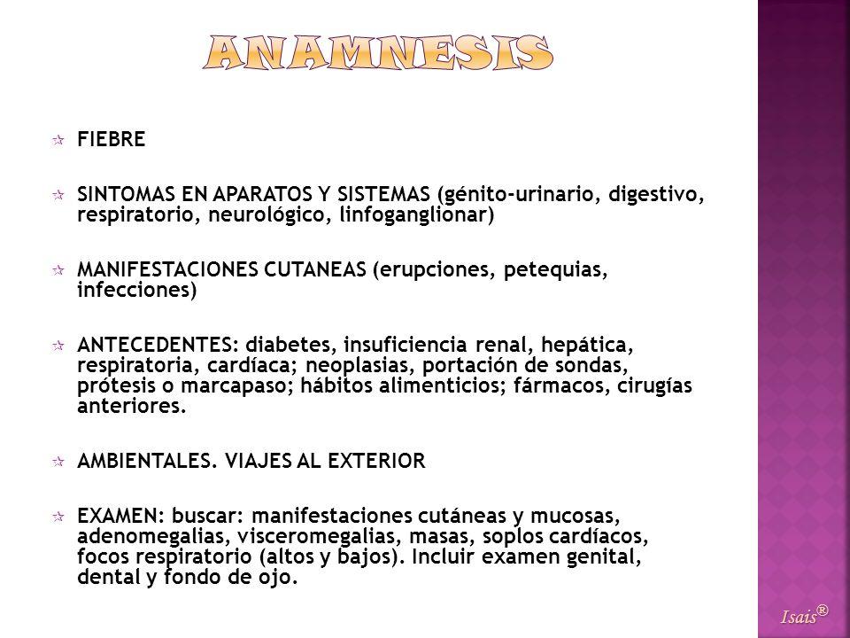 ANAMNESISFIEBRE. SINTOMAS EN APARATOS Y SISTEMAS (génito-urinario, digestivo, respiratorio, neurológico, linfoganglionar)