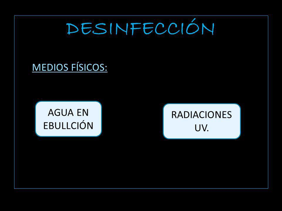 DESINFECCIÓN MEDIOS FÍSICOS: AGUA EN EBULLCIÓN RADIACIONES UV.