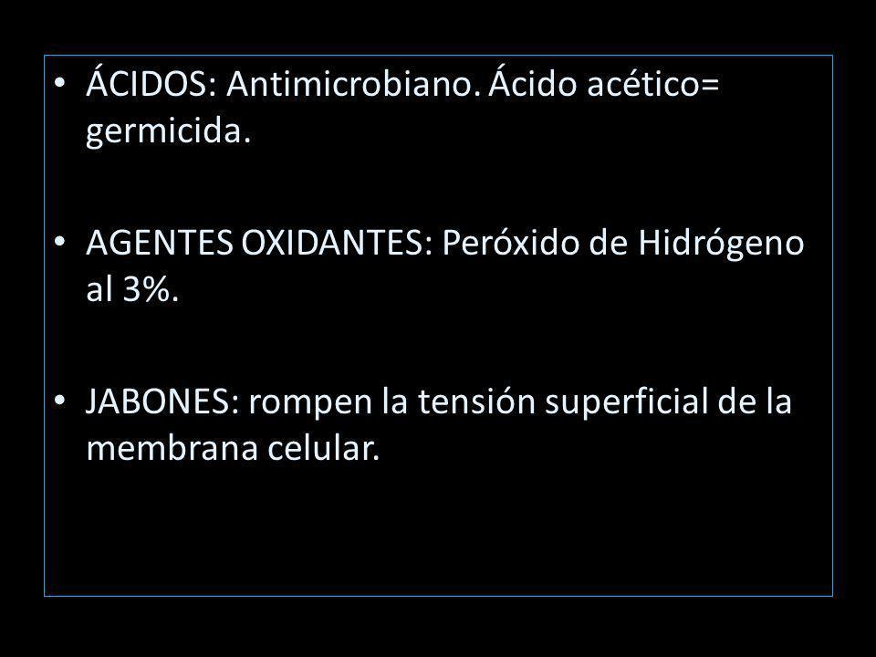 ÁCIDOS: Antimicrobiano. Ácido acético= germicida.