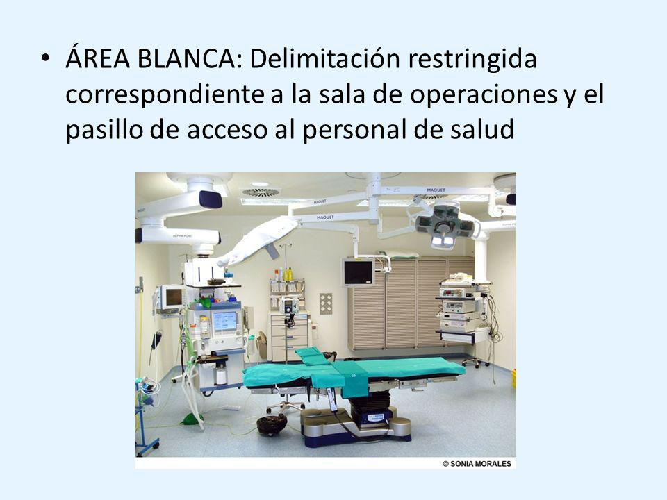 ÁREA BLANCA: Delimitación restringida correspondiente a la sala de operaciones y el pasillo de acceso al personal de salud