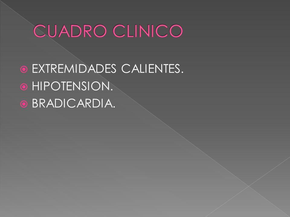 CUADRO CLINICO EXTREMIDADES CALIENTES. HIPOTENSION. BRADICARDIA.
