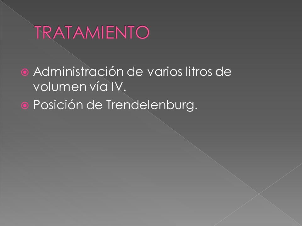 TRATAMIENTO Administración de varios litros de volumen vía IV.