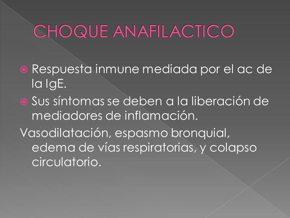 CHOQUE ANAFILACTICO Respuesta inmune mediada por el ac de la IgE.