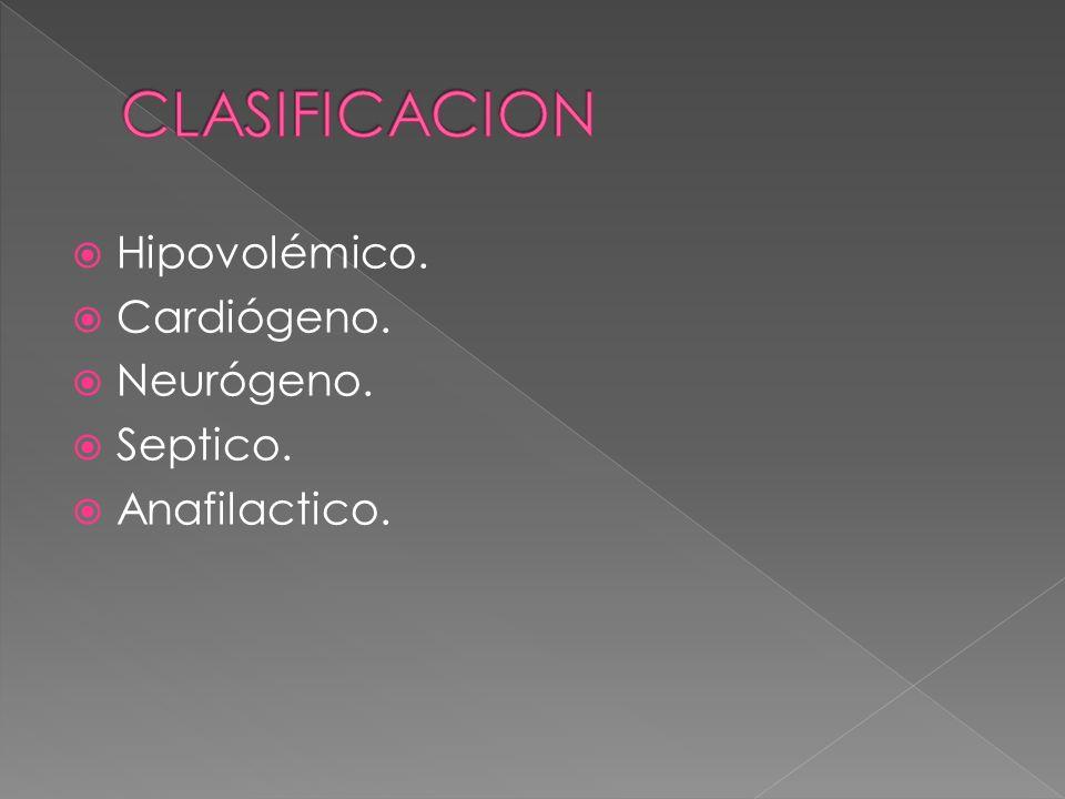 CLASIFICACION Hipovolémico. Cardiógeno. Neurógeno. Septico.