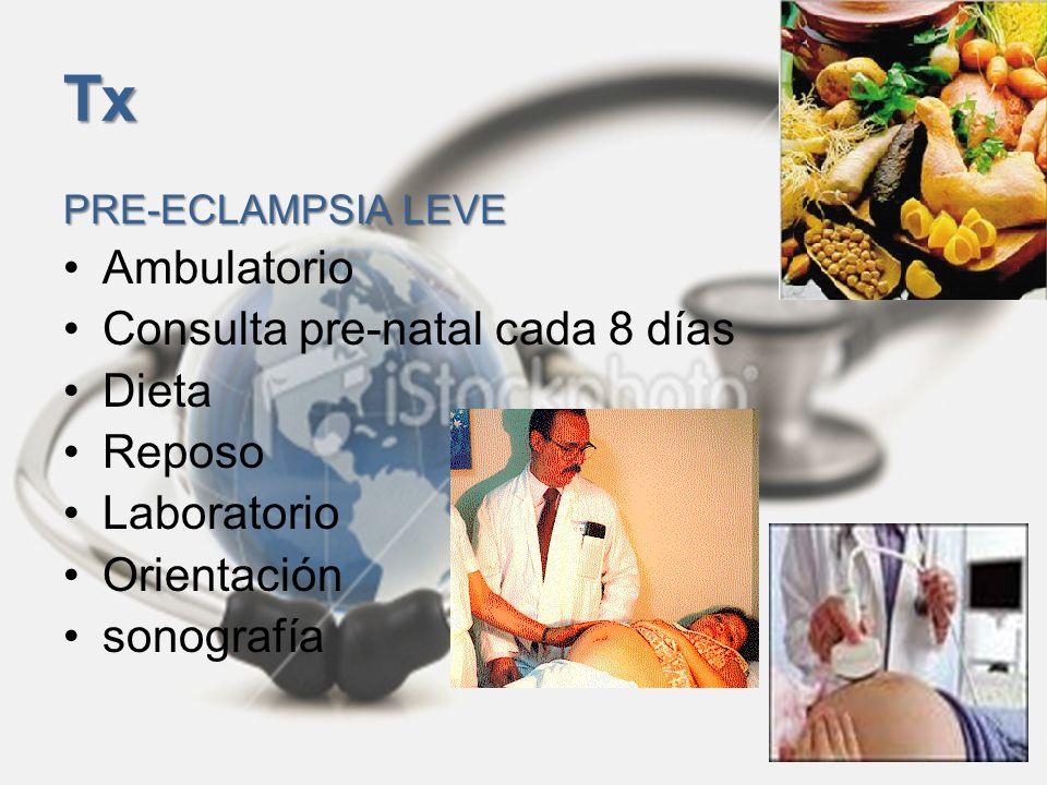Tx Ambulatorio Consulta pre-natal cada 8 días Dieta Reposo Laboratorio