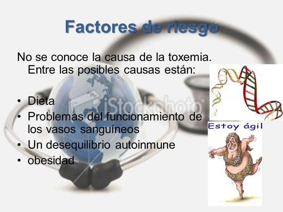 Factores de riesgoNo se conoce la causa de la toxemia. Entre las posibles causas están: Dieta. Problemas del funcionamiento de los vasos sanguíneos.