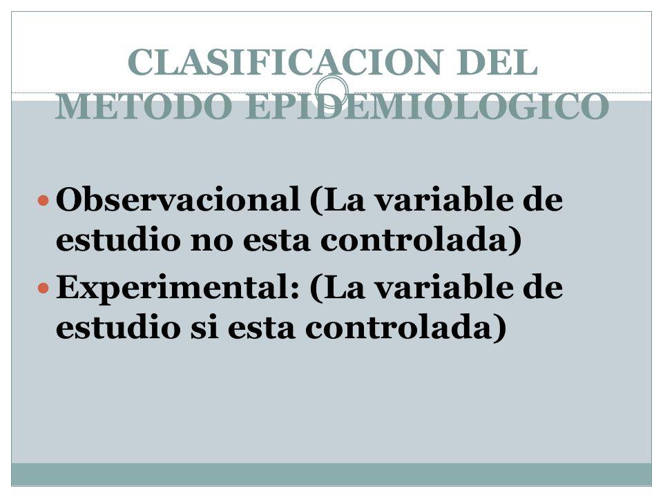 CLASIFICACION DEL METODO EPIDEMIOLOGICO