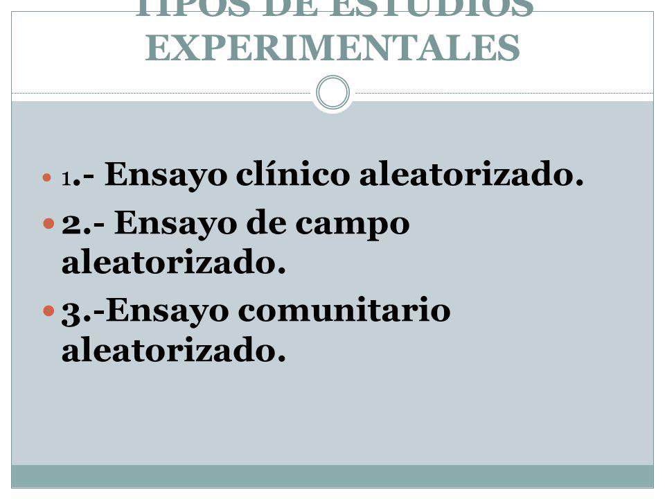 TIPOS DE ESTUDIOS EXPERIMENTALES