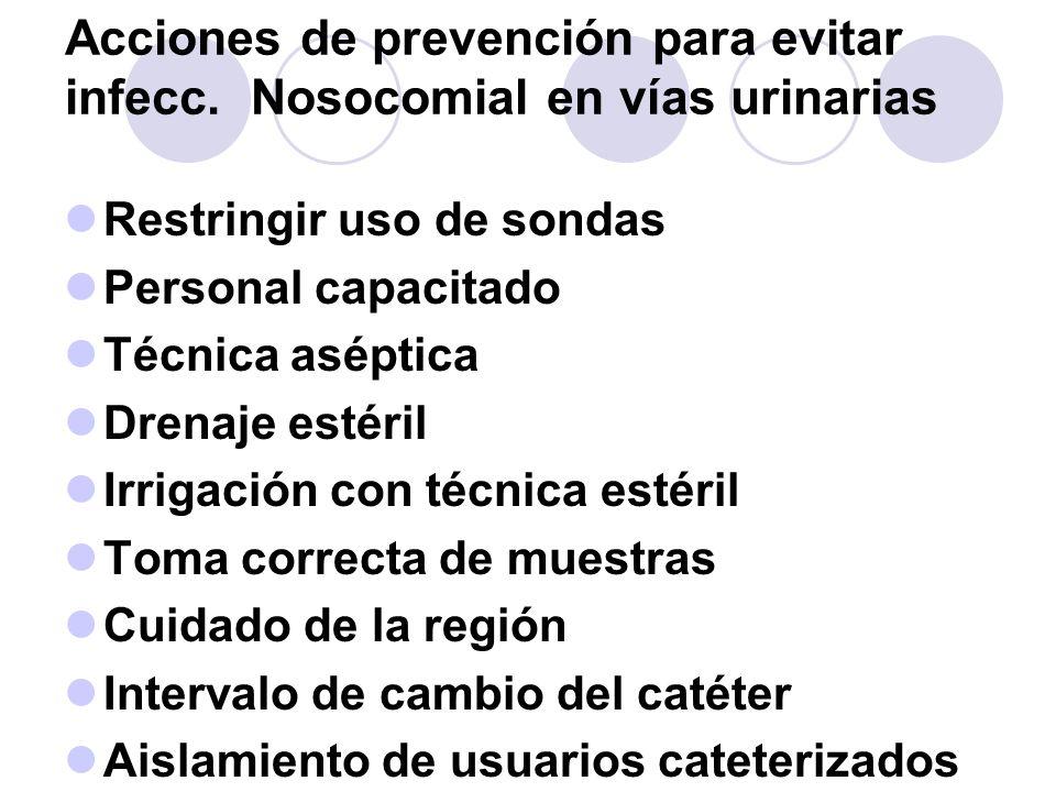 Acciones de prevención para evitar infecc. Nosocomial en vías urinarias