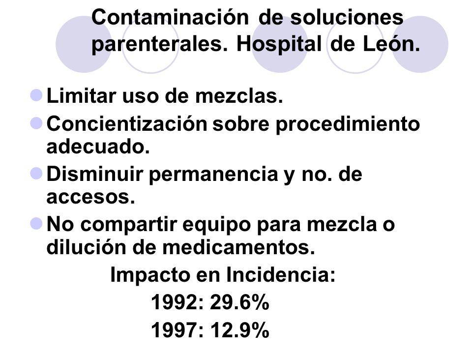 Contaminación de soluciones parenterales. Hospital de León.