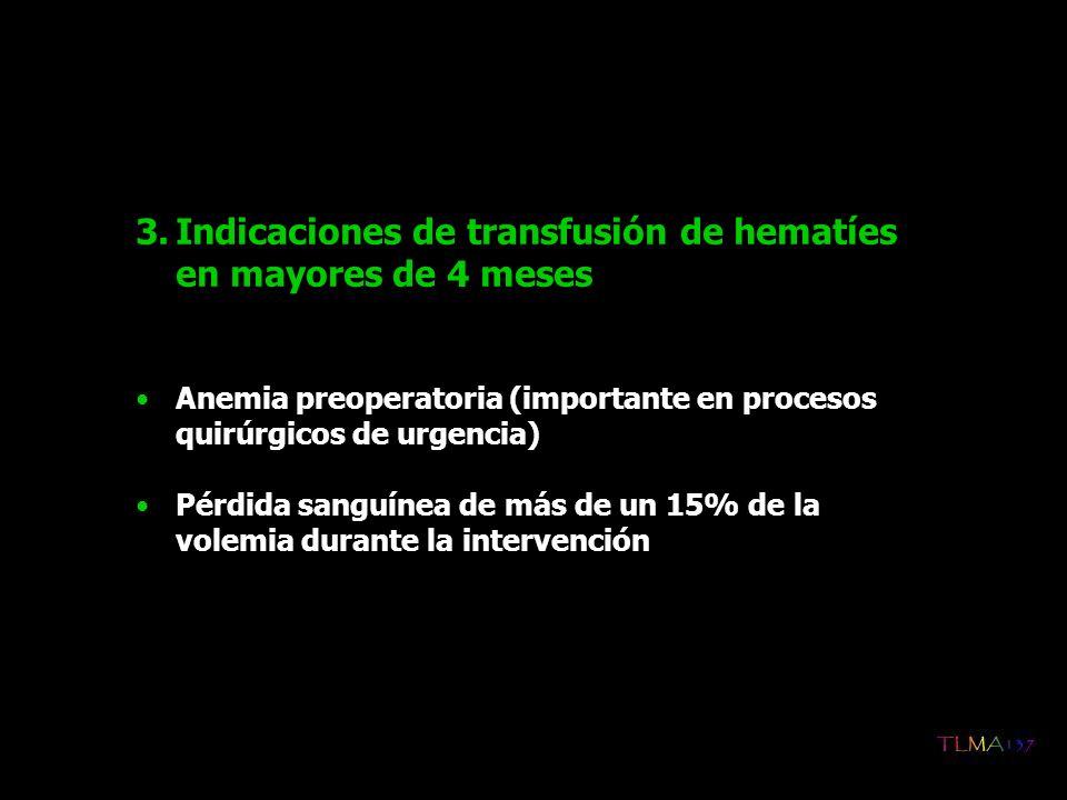 Indicaciones de transfusión de hematíes en mayores de 4 meses