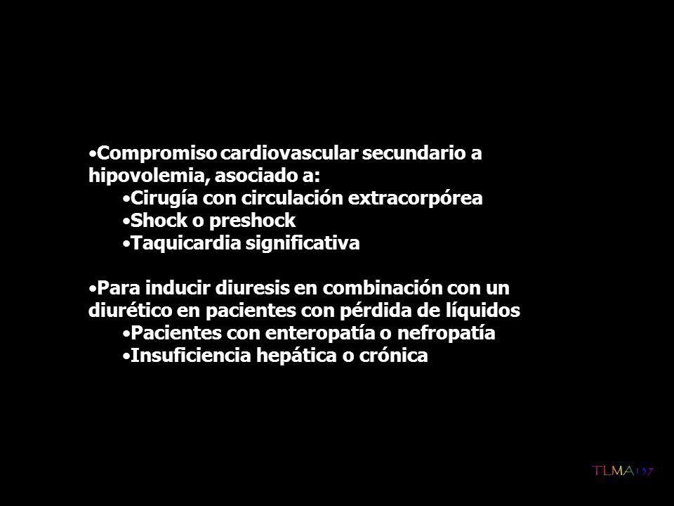 Compromiso cardiovascular secundario a hipovolemia, asociado a: