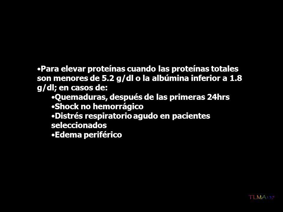 Para elevar proteínas cuando las proteínas totales son menores de 5