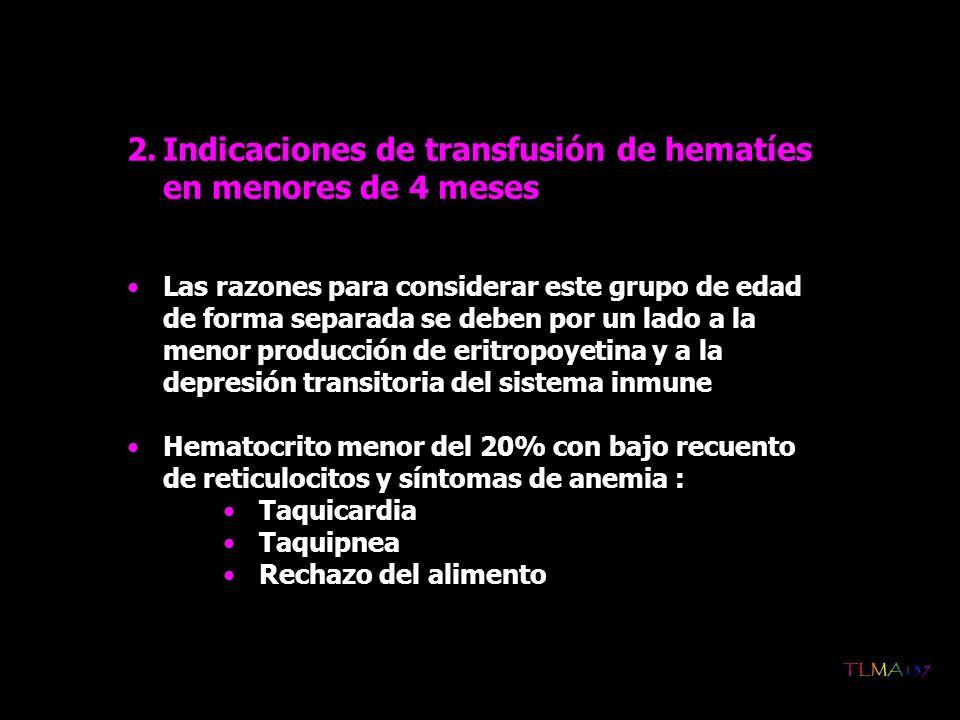 Indicaciones de transfusión de hematíes en menores de 4 meses