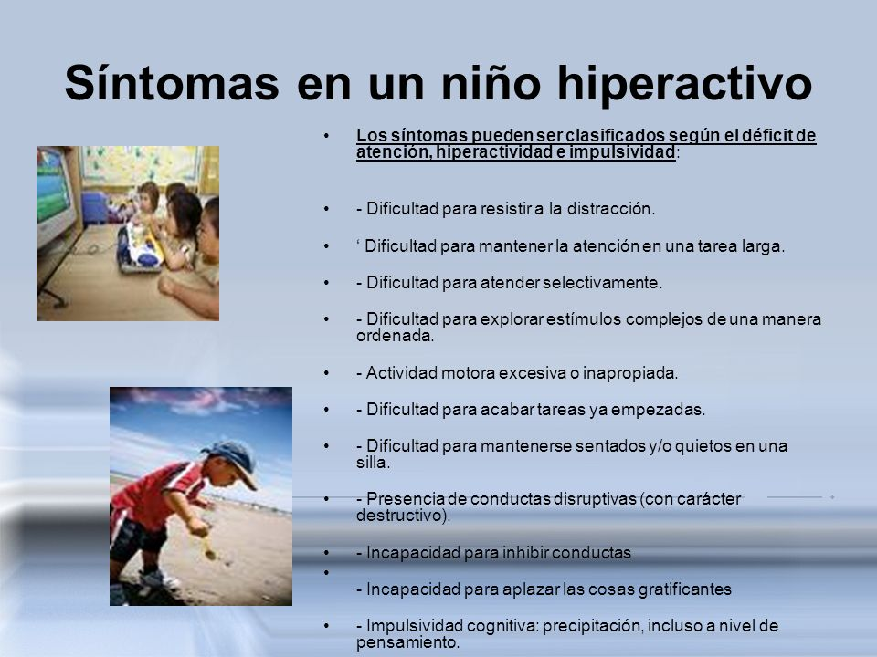 Síntomas en un niño hiperactivo