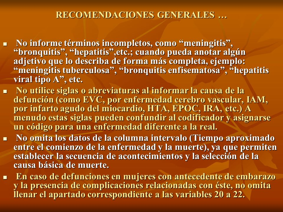 RECOMENDACIONES GENERALES …