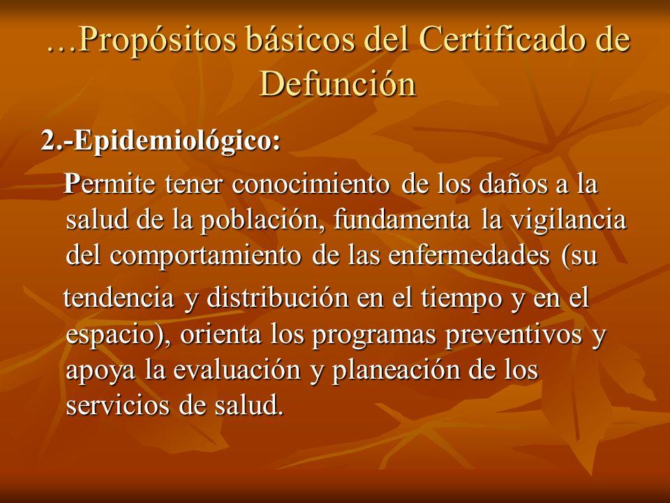 …Propósitos básicos del Certificado de Defunción