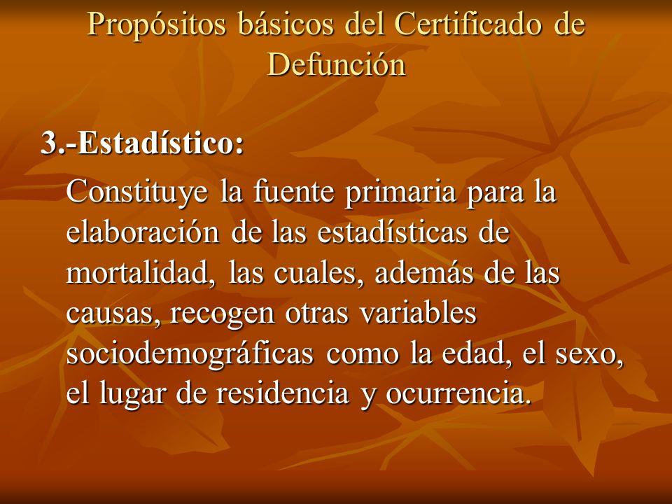 Propósitos básicos del Certificado de Defunción