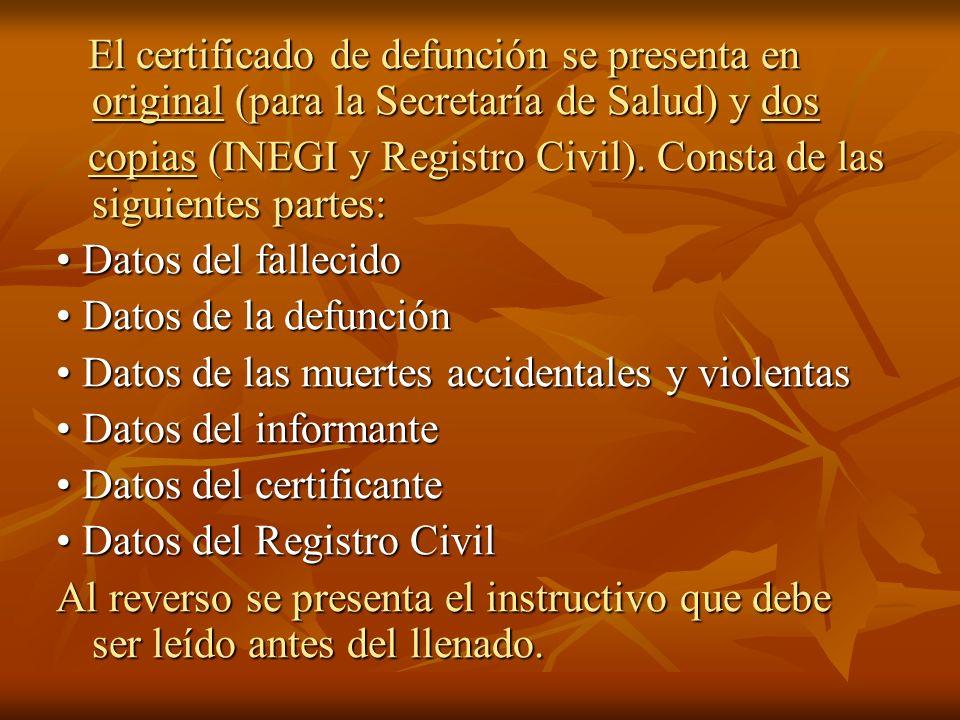 El certificado de defunción se presenta en original (para la Secretaría de Salud) y dos